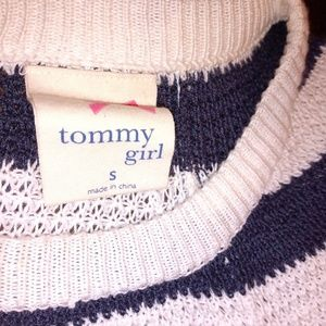 Tommy girl knit sweater blue/white striped